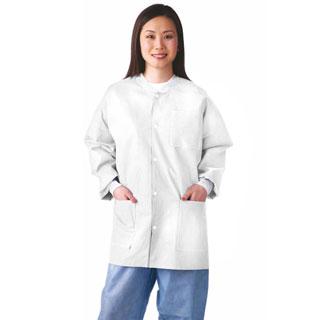 Medline Lab Jacket, SMS, Knit Collar, M (bulk pack of 30)