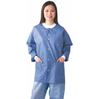 Medline Lab Jacket, SMS, Knit Collar, Blue, M (bulk pack of 30)