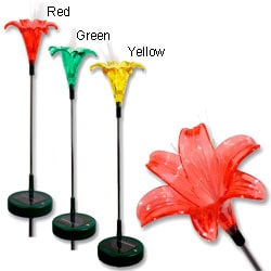 Lilies Three-piece Outdoor Solar Light Set