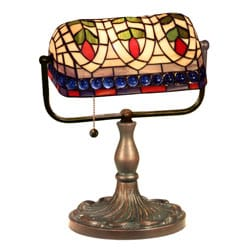 Tiffany-style Banker Blue Eyes Desk Lamp