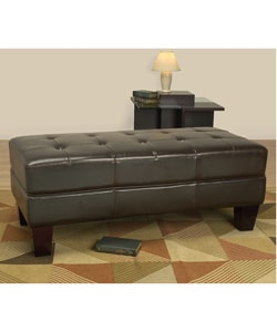 Leather Tufted Bench Dark Brown