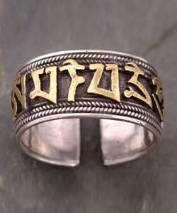 Silver Ring with Gold Plated Tibetan Script (Nepal) from Overstock.com