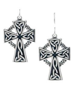 CGC Sterling Silver Large Celtic Cross Earrings (17 mm W x 37.15 mm H)