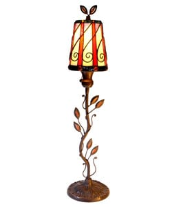Leaf Motif Stained Glass Table Lamp
