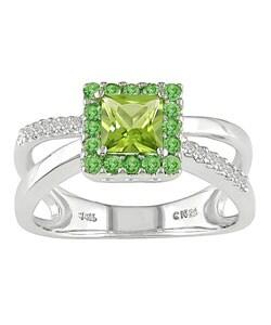 14k White Gold Diamond Peridot Ring : Jewelry from Overstock.com