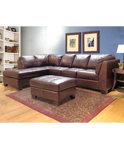 Chocolate Leather Sectional Sofa and Ottoman