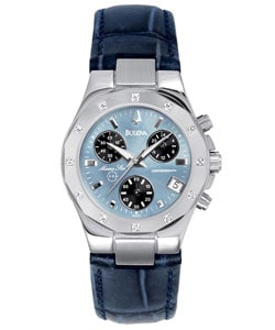 Bulova Women's Diamond Chronograph Watch : Women's Watches from Overstock.com :  navy blue leather overstock diamond accent