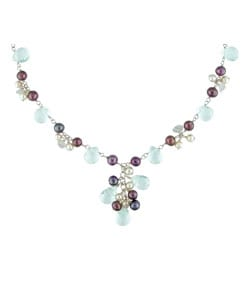 Silver Topaz Cultured Freshwater Pearl Necklace from Overstock.com :  necklace sterling silver freshwater pearls jewelry