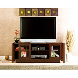Espresso Flat Screen TV Console Cabinet