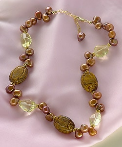 Exotic Tiger's Eye, Lemon Quartz and Pearl Necklace (USA) : World Jewelry from Overstock.com