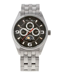 Lucien Piccard Moon Charter Black Dial Steel Watch