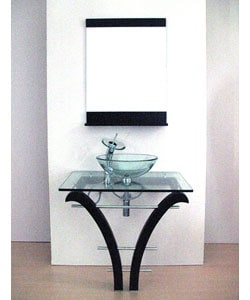 Pedestal Glass Bathroom Vanity and Faucet