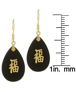14k Yellow Gold Black Onyx Good Luck Earrings : Jewelry from Overstock.com :  asian luck 14k black