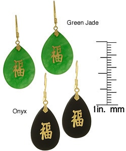 14k Yellow Gold Onyx/ Jade Good Luck Earrings : Jewelry from Overstock.com :  14k onyx gold earrings