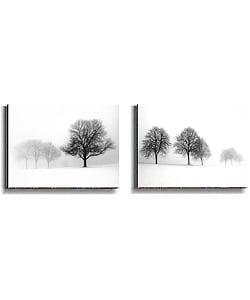 Wellman Winter Trees 2-pc Stretched Canvas Set from Overstock.com :  silouhetted peaceful black and white snow