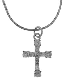 Sterling Essentials Sterling Silver CZ Cross Charm Necklace