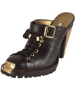 Miu Miu Brown Leather Clog : Designer Store from Overstock.com