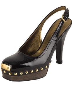 Miu Miu Black Patent Leather Stud Sling Back : Designer Store from Overstock.com :  platform sling-back heels black leather
