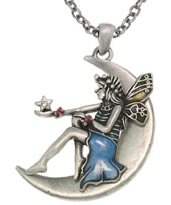 Fairy on a Moon Pewter Necklace