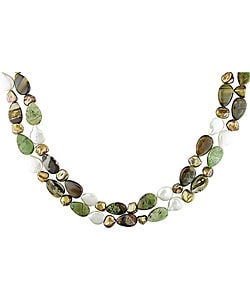 Multi-Gemstone FW Pearl Necklace