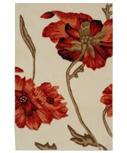 Safavieh Handmade Carnation Ivory/ Red New Zealand Wool Rug (2' x 3')