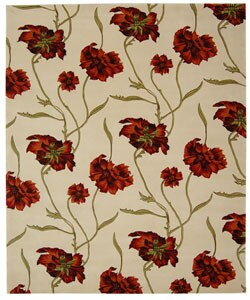 Safavieh Handmade Carnation Ivory/ Red New Zealand Wool Rug (8' x 10')