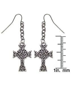 Pewter Eternity Cross Earrings