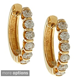 14k Yellow Gold 1 to 2ct TDW Diamond Hoop Earrings (I-J, I1)