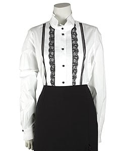 Tuxedo Blouse with Lace Trim