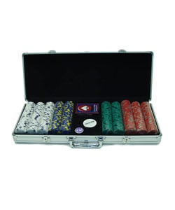 500 Pro Clay Casino Poker Chips with Case 13 Gram