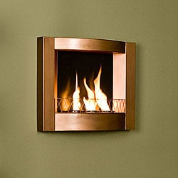 Copper Finish Wall Mount Gel Fuel Fireplace