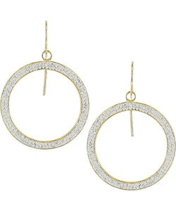 10k Yellow Gold Circle Crystal Hoop Earrings