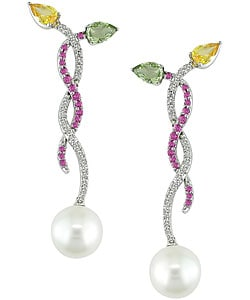 Multi Sapphire Cultured South Sea Pearl Earrings (9-10mm) from Overstock.com :  pearl sapphire south sea pearl earrings