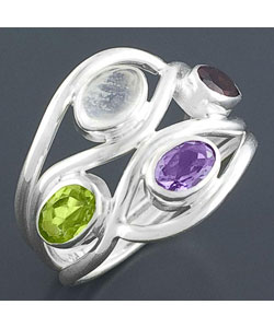 MULTISTONE STERLING SILVER RING (INDIA) from Overstock.com :  handmade jewelry cheap multistone sterling silver ring india handmade silver