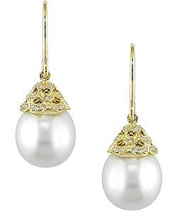 Cultured South Sea Pearl Diamond Earrings (11-12mm)