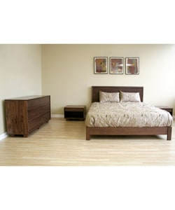 Canute Walnut Queen-size 4-piece Bedroom Set : Furniture from Overstock.com :  bedroom furniture bedroom set mid century modern dresser