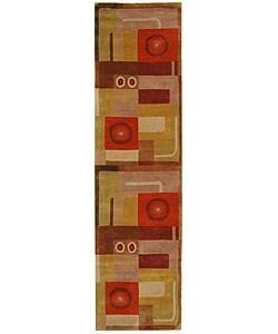 Safavieh Handmade Forbes Khaki/ Rust N. Z. Wool Runner (2'6 x 8')