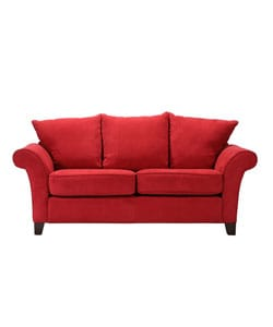 Provence Crimson Red Microfiber Flared-arm Sofa