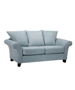 Provence Sky Blue Microfiber Flared Arm Sofa