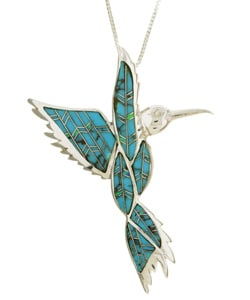 Silver Turquoise and Opal Hummingbird Necklace