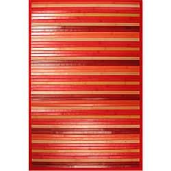 Handmade Red Bamboo Rug (3' Octagon)