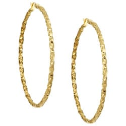 18k Gold over Silver Italian Hoop Earrings