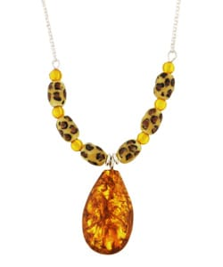Chateau D' Argent Sterling Silver Amber and Tiger Enamel Necklace from Overstock.com
