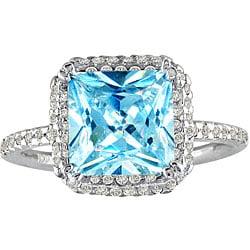 14k White Gold 1/2ct TDW Blue Topaz Diamond Ring (J/K, I2/I3 )