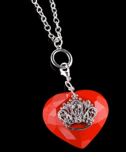 M. Haskell Red Plastic Heart and Crown Necklace from Overstock.com :  overstock necklace red plastic