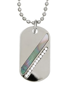 Silvertone Black Mother of Pearl Dog Tag Necklace from Overstock.com