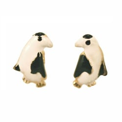 14k Yellow Gold Black and White Penguin Earrings