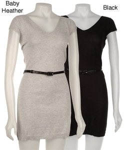 Kersh Women's Short-sleeve V-neck Belted Dress from Overstock.com :  dress casual grey v neck