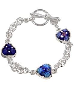 Sterling Silver/Denim Blue Murrano Glass Bracelet