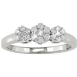 10k Gold 1/4ct TDW Diamond Triple Cluster Ring (I-J, I2-I3)